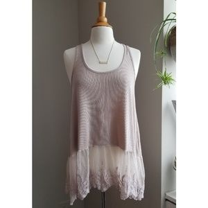 Umgee | Beige Lace Layering Ribbed Tank